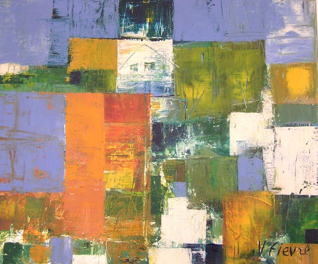 Soleil et marécages - Acrylique sur toile- 65x55cm